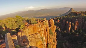 Valley of Desolation South Africa. Aerial panoramic view of the Camdeboo National Park and the Valley of Desolation at sunset, Western Cape province of South stock video footage