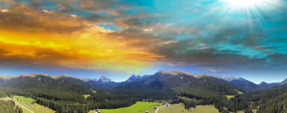 Valley of Dolomites, Panoramic view of Italian Alps Royalty Free Stock Image
