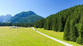 Valley of Dolomites, Panoramic view of Italian Alps Stock Photo