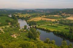 Valley of Dordogne river, France stock image