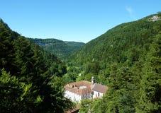 The valley in the Doubs (france). Le cirque de Consolation, a former monastery in de Val de Consolation, in the department of de Doubs, France Royalty Free Stock Photography