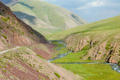 Valley of East Karakol river, Tien Shan mountains Stock Image