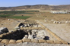 Valley of Ellah and Archaeology works at Tel Sokho or Tel Suqo in the Judeia Hills. Valley of Ellah and Archaeological site of Biblical and Ancient site of Tel Stock Photo