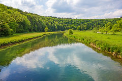 Valley Eselsburger Tal. River Brenz, Eselsburger Tal valley - jewel of the swabian alps Stock Photos