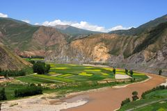 Valley and farm. The river 、mountain、farm in china Stock Photography