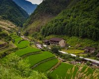Valley Farm In China Stock Photos