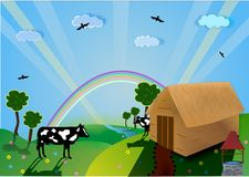Valley , Farm vector. A sunny farm with cows and rainbow Stock Image
