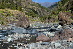 Valley of Fear on the island La Palma, Canary Islands. Stream bed in the canyon Barranco de las Angustias, Valley of Fear, between Caldera de Taburiente and the Royalty Free Stock Images