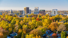 Valley filled with autumn in the city of trees Royalty Free Stock Image