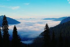 Valley filled with clouds Stock Photography