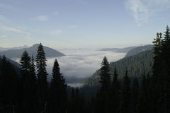 Valley filled with clouds Stock Image