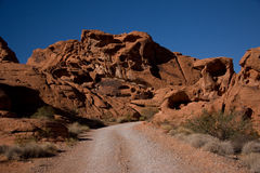 The Valley of Fire. Derives its name from red sandstone formations, formed from great shifting sand dunes during the age of dinosaurs. Complex uplifting and royalty free stock image