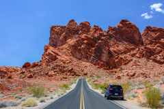 Valley of Fire, Nevada, USA - June 29, 2015: Jeep Cherokee on the road Park Valley of Fire Stock Photos