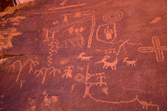 The Valley of Fire Petroglyphs on Atlatl Rock. Petroglyphs from the Ancient Pueblo Peoples, also known as the Anasazi royalty free stock photos
