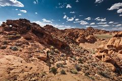 Valley of Fire. Red rocky hill wide view Stock Photo