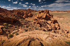 Valley of Fire. Red rocky hill wide view Stock Photography