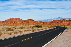 Valley Of Fire State Park. The sinuous road going to Valley Of Fire State Park Royalty Free Stock Photo