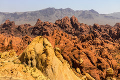 Valley of Fire State Park with 40,000 acres of bright red Aztec sandstone outcrops nestled in gray and tan limestone V Royalty Free Stock Photo