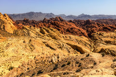 Valley of Fire State Park with 40,000 acres of bright red Aztec sandstone outcrops nestled in gray and tan limestone VI Royalty Free Stock Photo