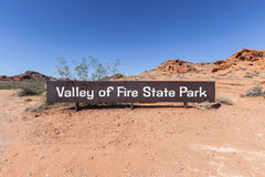 Valley of Fire State Park Entrance Sign in Southern Nevada.  Royalty Free Stock Photo