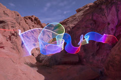 Valley of Fire State Park - Light Painting Royalty Free Stock Photos
