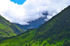 Valley of Flowers National Park, Uttarakhand, India. This is photograph of valley and mountains as seen from Valley of Flowers National Park, Uttarkhand, India Royalty Free Stock Photography