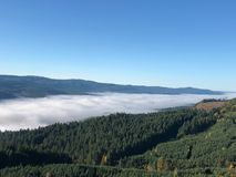 Valley fog from mountain top Royalty Free Stock Photos