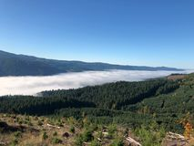 Valley fog from mountain top Stock Image