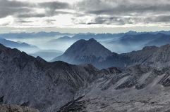 Valley fog from the Zugspitze 04 Royalty Free Stock Photography