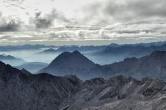 Valley fog from the Zugspitze 05 Royalty Free Stock Photography