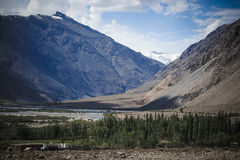 The valley at the foot of the mountains on Pamir. Spring. Tajiki Royalty Free Stock Photo