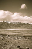 The valley at the foot of the mountains on Pamir. Spring. Tajiki Stock Images