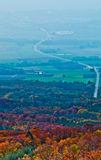Valley and Forest in Autumn. View of a valley covered with fog and autumn forest at St Cergue, Switzerland Stock Photos