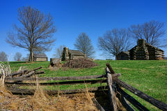 Valley Forge Historical Park Log Cabin Encampment. American Revolutionary War private soldier housing log wood cabins encampment of the United States Stock Image