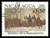 Valley Forge. Nicaragua - stamp 1982: Color edition on 250th Aniversary of George Washington, shows Valley Forge Stock Image