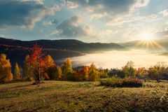 Valley full of fog in mountainous countryside. Valley full of morning fog in mountainous rural area. gougers countryside with trees in fall colors stock image