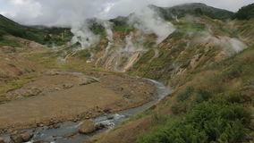 Valley of Geysers in Kamchatka Peninsula. Valley of Geysers. Kamchatka Peninsula in the summer stock video