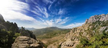 Valley of ghosts. Crimea. Panoramic landscape view. Valley of ghosts. Crimea. Stone view. Travel Stock Photo