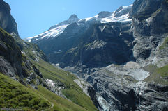 Valley and glacier nearby Grindelwald in Alps in Switzerland Royalty Free Stock Photography