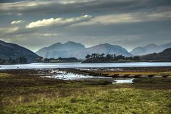 Loch Leven and Grampian Mountains. Valley in Glencoe, Scotland, Great Britain stock photo