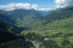 Valley and Grindelwald city in Switzerland. Royalty Free Stock Photo