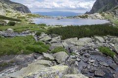 Valley in High Tatras, Mlynska Dolina, wild slovakia mountains, Pleso Nad Skokom royalty free stock image