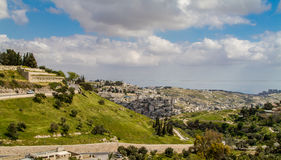 Valley of Hinnom and Silwan neighborhood in Jerusalem. Valley of Hinnom and Silwan - neighborhood on the outskirts of the Old City of Jerusalem, Israel Royalty Free Stock Photos