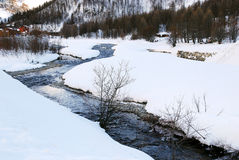 Valley Isere river in winter, France Stock Photo