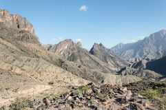 Valley in Jabal Shams, Oman. Landscape with valley and mountains in Oman Royalty Free Stock Image