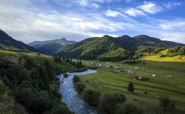 Central Tien Shan. The valley of the Karkara River, along the river passes the state border between Kazakhstan and Kyrgyzstan. In the valley there are basic stock photo