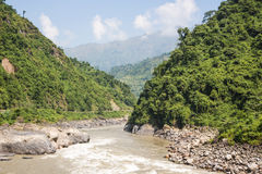 Valley between Kathmandu and Pokhara, Nepal Royalty Free Stock Image