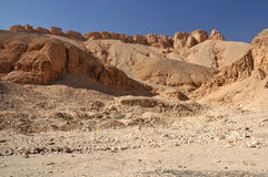 The Valley of the Kings. Desert landscape of the Valley of the Kings at Luxor, in Egypt Stock Photos