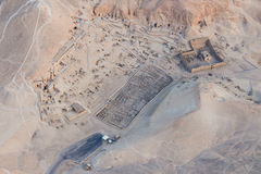 The valley of the Kings from aerial photo. The valley of the Kings in the Nile river west bank, where a total of more than 60 imperial mausoleum, buried dynasty Royalty Free Stock Photo