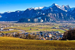 Valley landscape. Country landscape with fields and mountains. Switzerland-Liechtenstein Stock Photography